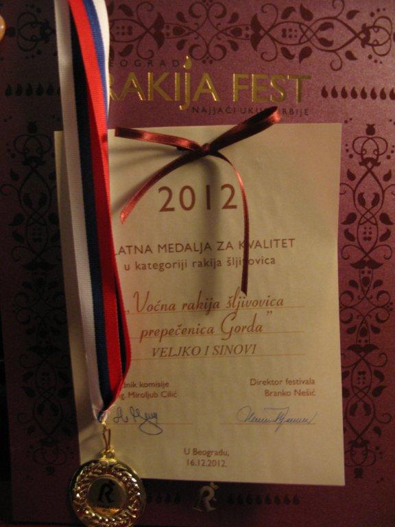 Rakia fest Belgrade rakia bar gold medal for best brandy