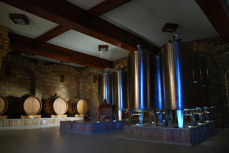 brandy production with barrels