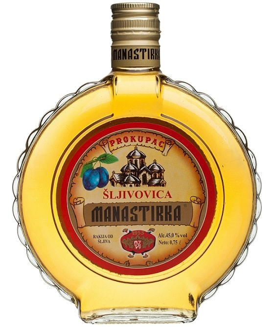 Manastirka Plum Brandy Slivovitz in Glass Flask