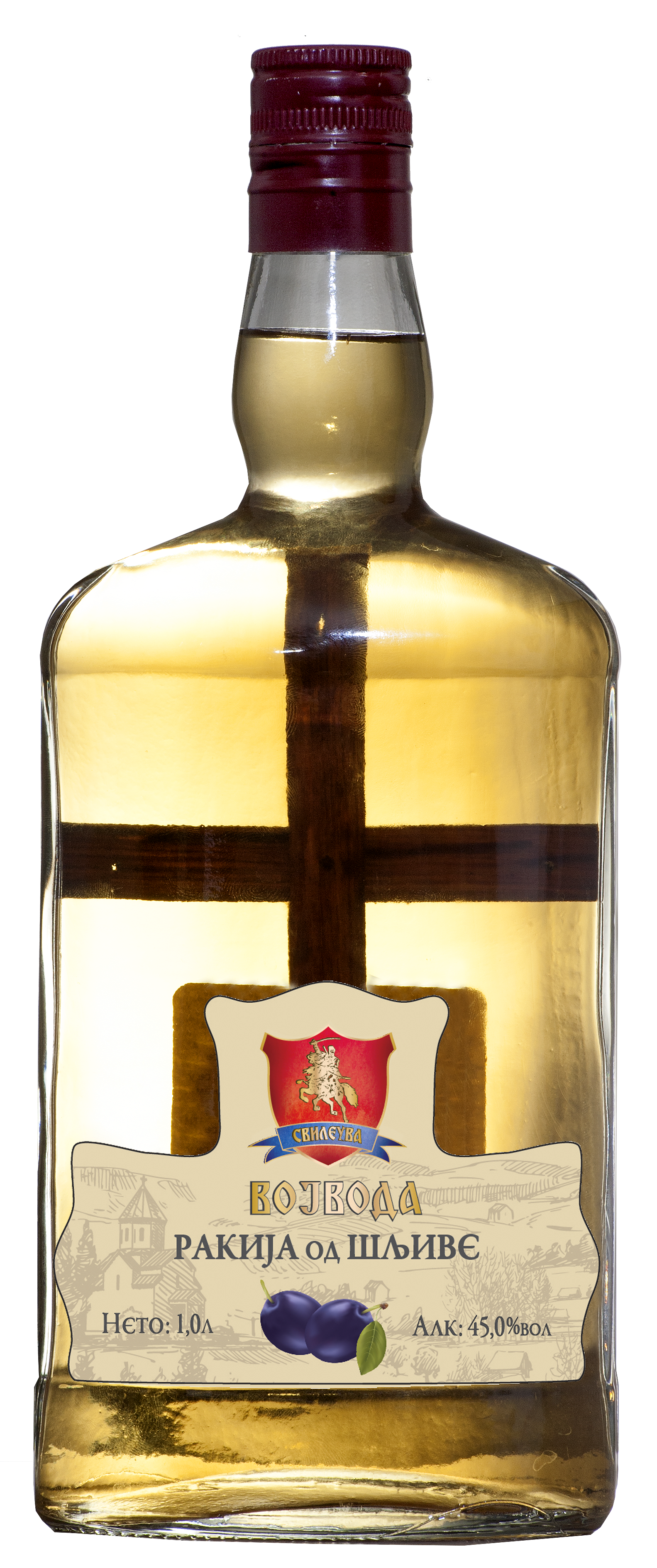 Plum brandy Slivovitz Vojvoda with a cross